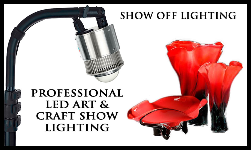 craft show lights, art show lighting, show off lighting, craft booth lighting